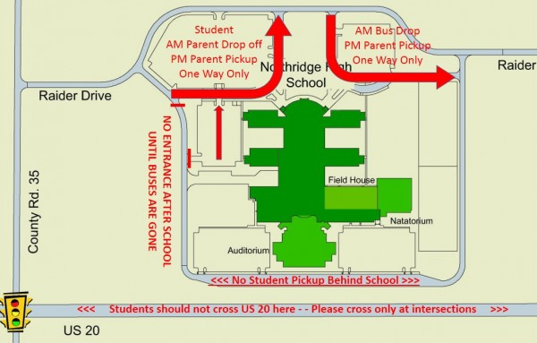 NHS Parent Drop Off and Pick Up Map