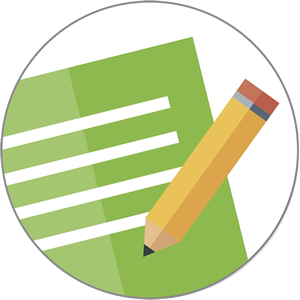assignment icon (pencil and green paper in circle)
