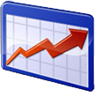 school improvement icon (blue line chart with red upward trending arrow)
