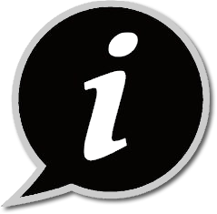 "input icon (lowercase letter ""i"" in a black speech balloon)"