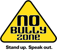 No Bully Zone. Stand up. Speak Out. (yellow triangle, black letters)